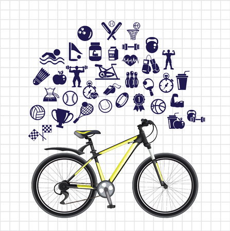 racing bicycle: Sport sketch icon set Illustration