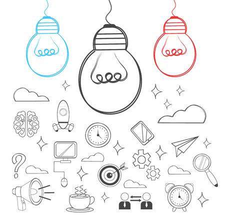 tehnology: Vector idea illustration. Doodle icon set