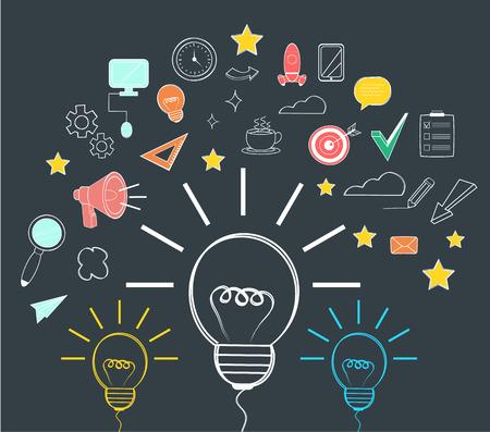 start up: Vector idea flat icon Illustration
