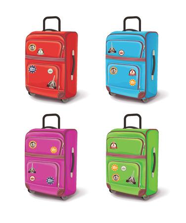 holdall: Travel bag. Vector illustration set Illustration