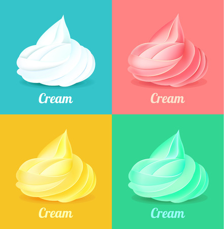 torte: Whipped cream. Vector illustration set