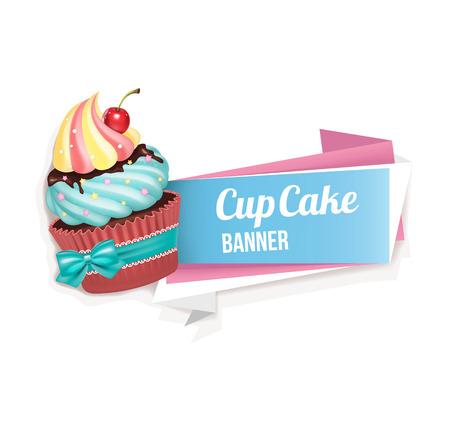 Cupcake vector banner