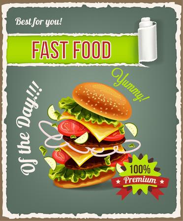 comida rápida: Hamburguesa est� explotando. Vector de comida r�pida de la bandera Vectores