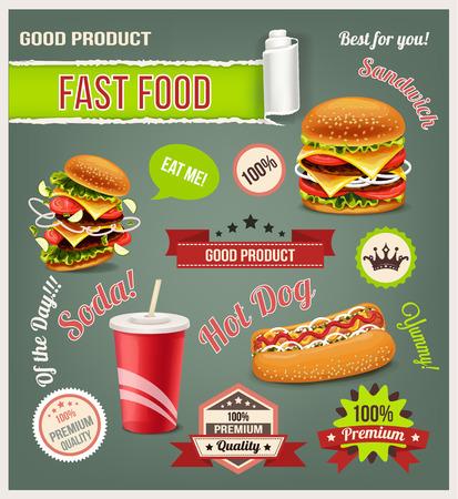 hotdog sandwiches: Fast food vector set