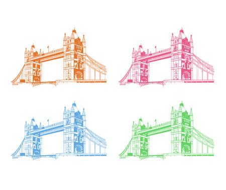 river thames: Vector tower bridge. London illustration Illustration
