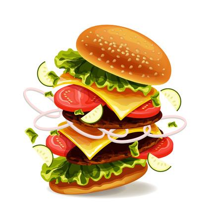 Hamburger is exploding. Vector illustration Stock Illustratie