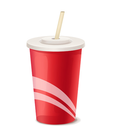 Red paper cup vector template Çizim