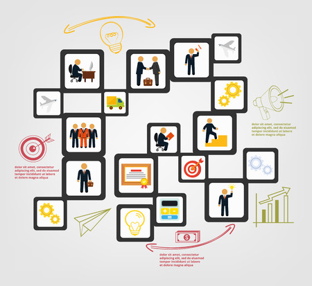 command structure: Stock business start infographics with humans and flat icons banner