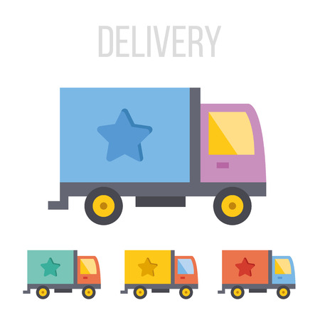 moving crate: Vector delivery truck icons