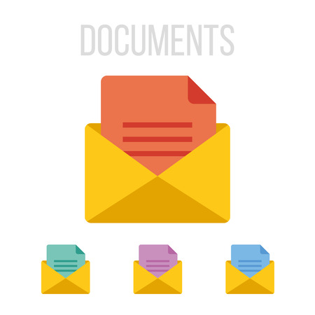 web mail: Vector envelope and document icons