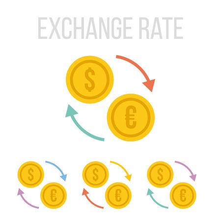 Vector wisselkoers iconen Stock Illustratie