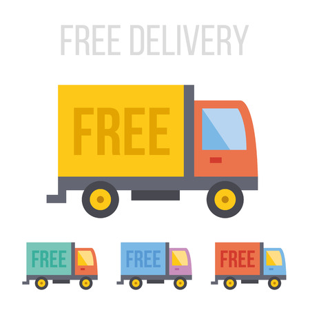 Vector free delivery truck icons