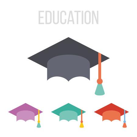flat cap: Vector graduation hat icons
