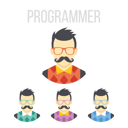 coder: Vector man with mustache icons Illustration