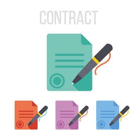 business contract: Vector sign contract icons Illustration
