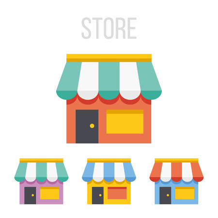 convenient store: Vector store icons Illustration
