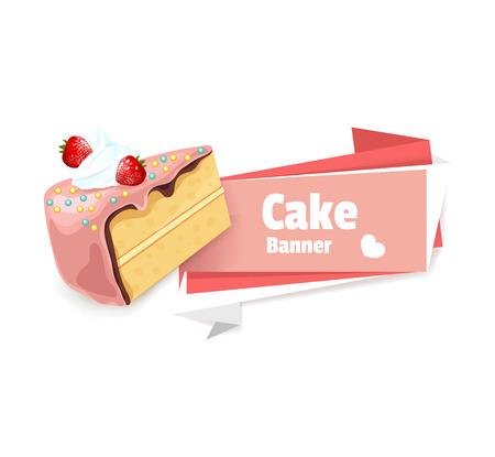 pink cake: Vector pink cake banner illustration