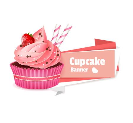 핑크 컵 케이크 벡터 배너 일러스트