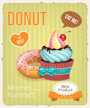 Vector cupcake and donut banner illustration Vector