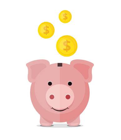 bank icon: Vector piggy bank flat icon Illustration