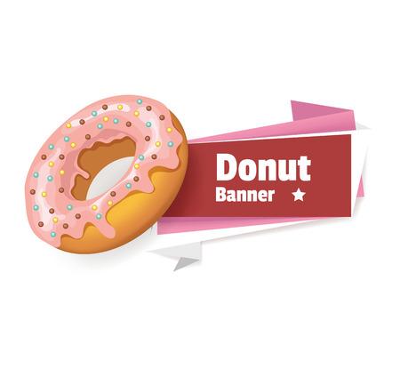 Vector pink donut banner illustration Vector