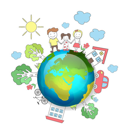 environment friendly: Planet earth. Happy family. Vector illustration