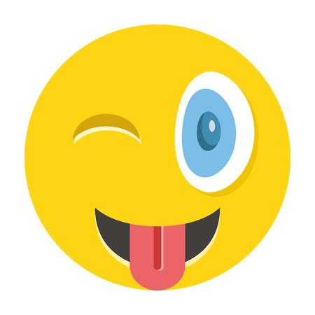 languages: Emoticon guiño feliz con la lengua fuera Vectores