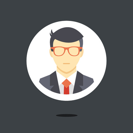 business man vector: Vector man in business suit icon Illustration
