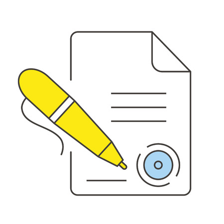 filing: Document with a stamp and pen icon