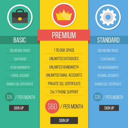 price list: Modern creative flat style pricing table vector illustration