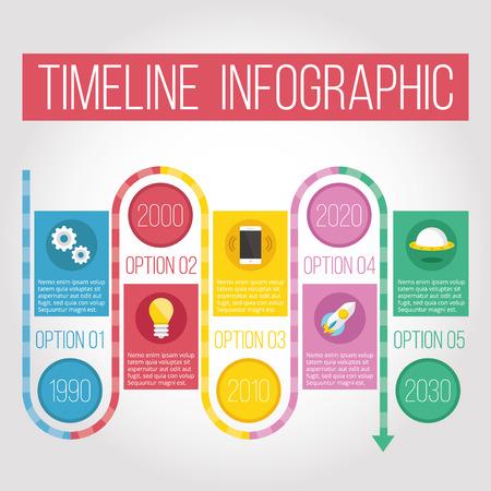 cronologia: Línea de tiempo creativo concepto infografía Vectores