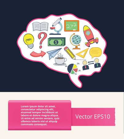 brain illustration: Vector flat brain illustration