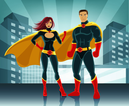 cartoon superhero: Superheroes vector illustration Illustration