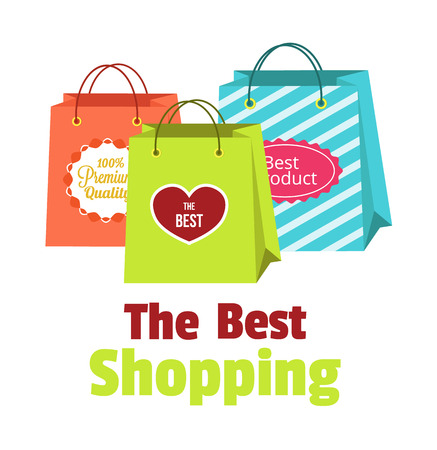 promo: Vector flat shopping paper bags illustration Illustration