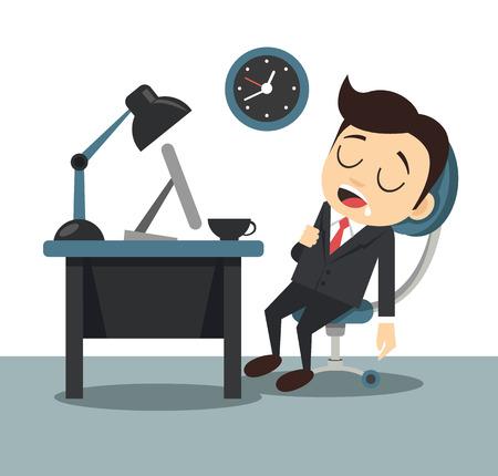 sleeping businessman: Vector flat sleeping businessman illustration