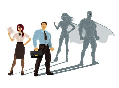 mujer con maleta: Vector personas súper negocio ilustración