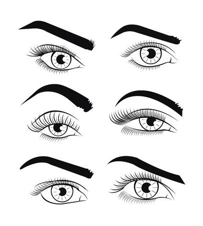 cilia: Vector template eyes. Vector illustration Illustration
