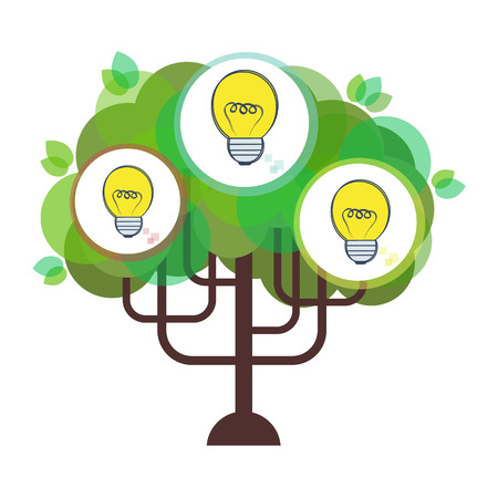 grow money: Vector flat business idea tree illustration Illustration