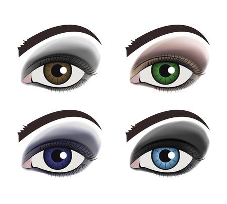 make up: Vecteur composent ensemble de l'?il Illustration