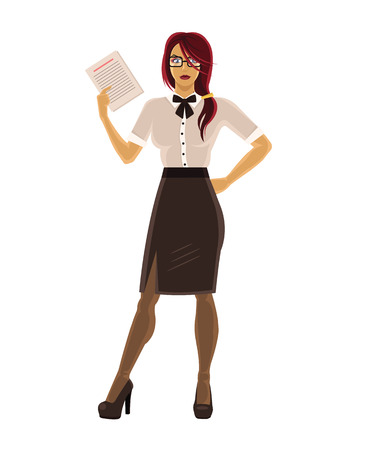 businesswoman skirt: Vector secretary illustration Illustration