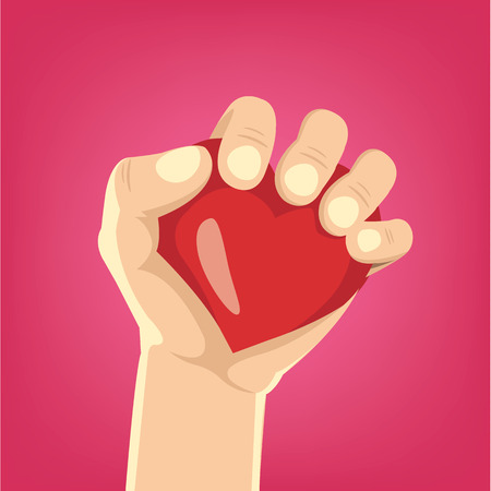 selebration: Cartoon hand holds heart. Vector illustration