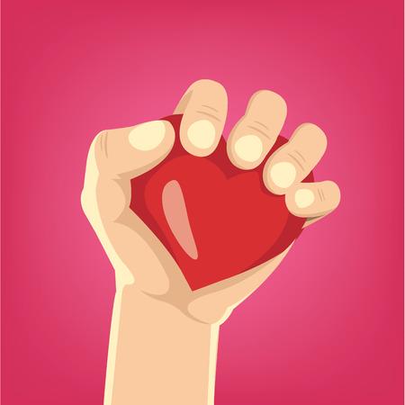 transplant: Cartoon hand holds heart. Vector illustration