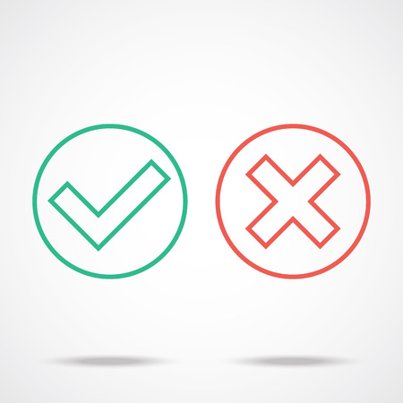 accept: Flat line check marks icons Illustration