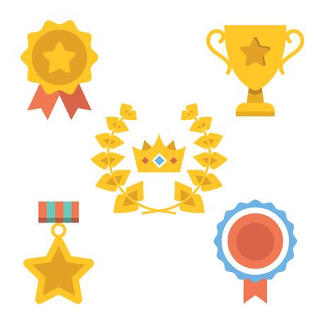 awards: Medallas, premios y logros iconos conjunto Vectores