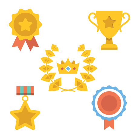 win win: Medals, awards and achievements icons set