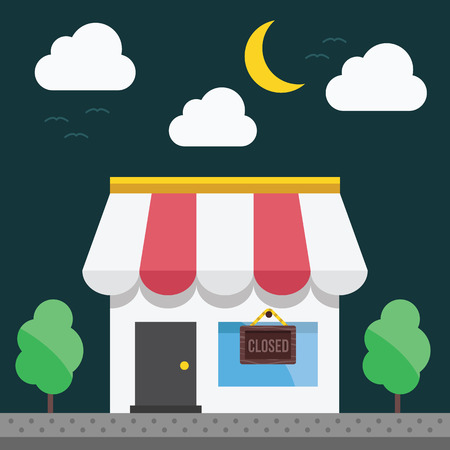 good time: Shop building at night time. Vector illustration.