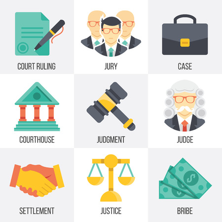 court judge: Vector court icons set. Set 14. Illustration