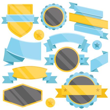 yellows: Blue, black and yellows badges,ribbons and labels set Illustration