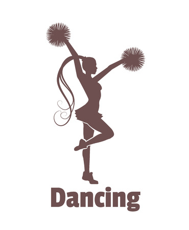 cheer leading: Vector dancing girl illustration