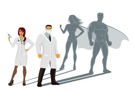 medico caricatura: M�dicos profesionales superh�roes
